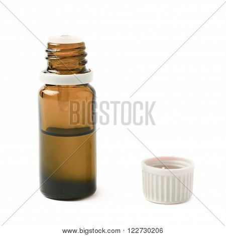 Small brown glass flask vial with the cap off, composition isolated over the white background