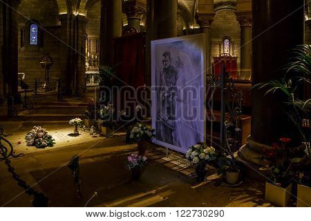 Monaco, Monaco - May 19: tombs of Prince Rainier III and princess Grace in the Cathedral May 19, 2015 in Monaco, Monaco.