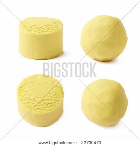 Piece of a yellow modelling clay isolated over the white background, set of four foreshortenings