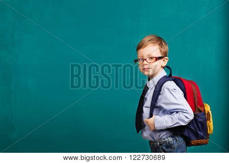 Cheerful Smiling Little Kid With Big Backpack