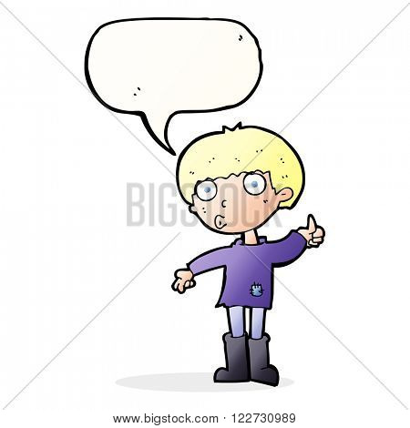 cartoon boy asking question with speech bubble