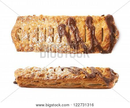 Chocolate covered banana strudel bun isolated over the white background, set collection of two different foreshortenings