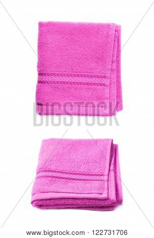 Single purple pink terry cloth towel isolated over the white background, set collection of two different foreshortenings