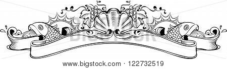 Vector illustration of vintage richly decorated banner on wine and marine theme. Seashell with a pearl, two fishes and grape bunches on both sides of the banner. Perfect as design element for wine cognac champagne label etc