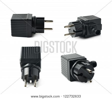 Black plastic electric adapter isolated over the white background, set collection of four different foreshortenings