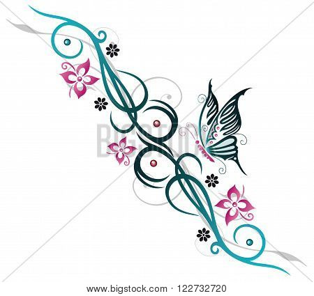 Feminine Tribal with flowers and Butterfly, blue and pink.