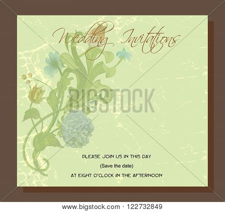wedding invitation decorated with vintage chrysanthemum flowers and acanthus leaves