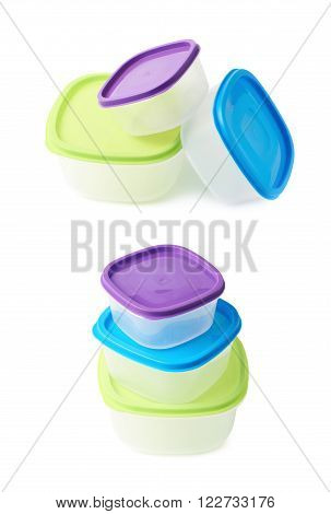 Pile of colorful plastic food containers, composition isolated over the white background, set collection of two different foreshortenings