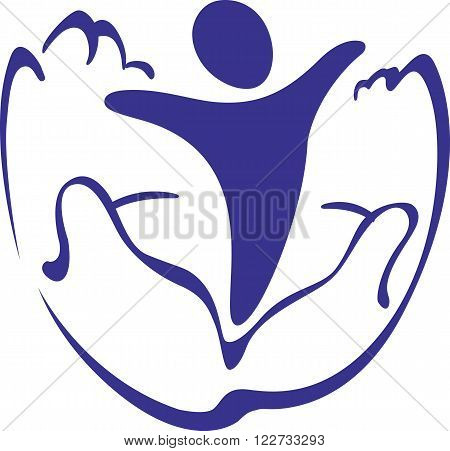 Vector illustration of the symbolic image of of a hands holding a baby. Logo or Icon on a theme care and motherhood.