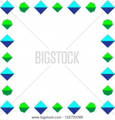 A square frame of crystals. The square frame around the edges of the crystals, vector illustration.