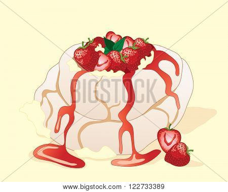 an illustration of a strawberry pavlova meringue dessert with fresh fruit cream and mint leaf garnish on a yellow background