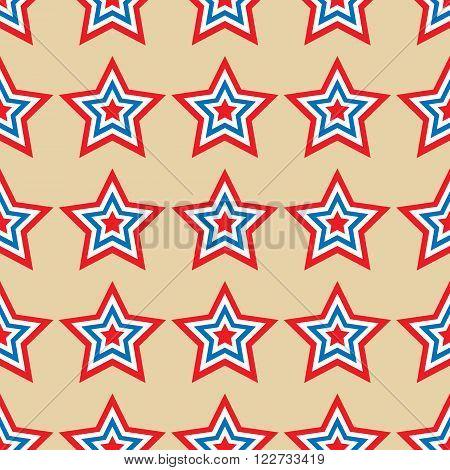 American stars seamless pattern. Striped red, blue, white stars seamless pattern. Vector illustration.