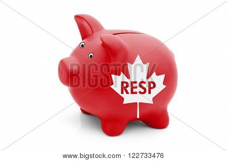 Registered Education Savings Plan in Canada, A red piggy bank with a white Canadian maple leaf flag and text RESP isolated on white