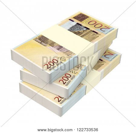 Georgian lari bills isolated on white background. Computer generated 3D photo rendering.