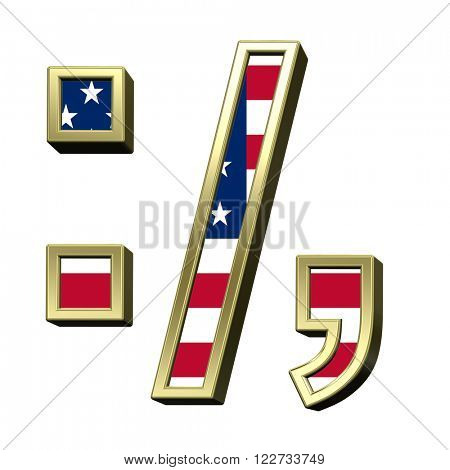 Colon, semicolon, period, comma from american flag alphabet set isolated over white. Computer generated 3D photo rendering.