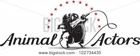 Vector illustration logo template with wild cartoon boar singing into a microphone with inscription animal actors.