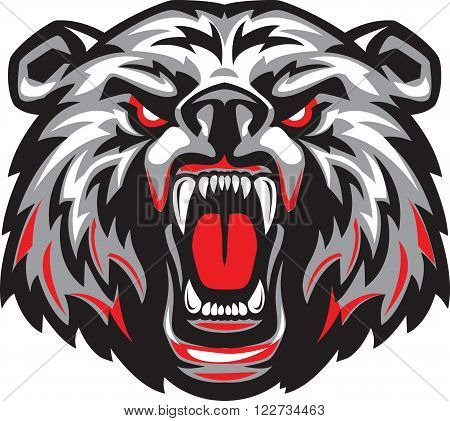 Vector illustration of furious angry face of terrible bear with open mouth and terrible teeth. Great for use as a logo element as icon as a tattoo or to illustrate the strength and aggressiveness in the design.