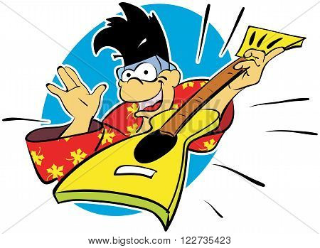 Vector illustration of a cartoon monkey rocker in bright clothes with punk hairstyle playing rock with electric guitar.