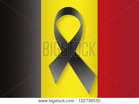 Belgium flag with a black ribbon in commemoration of the victims of Brussels terrorist attack. Belgique brruxelles flag