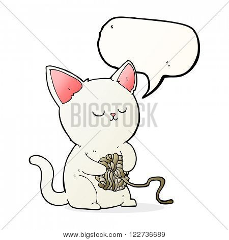 cartoon cat playing with ball of yarn with speech bubble