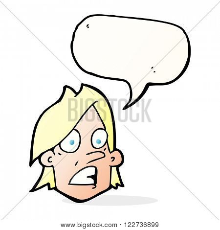 cartoon frightened face with speech bubble