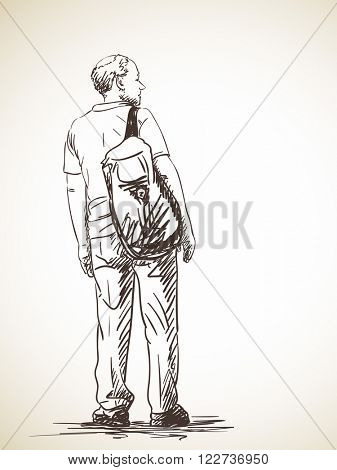 Sketch of man with backpack, Hand drawn illustration