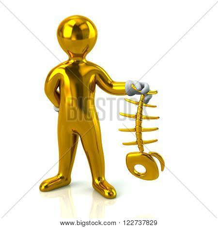 Golden Man Character Holding Fish Bone Skeleton