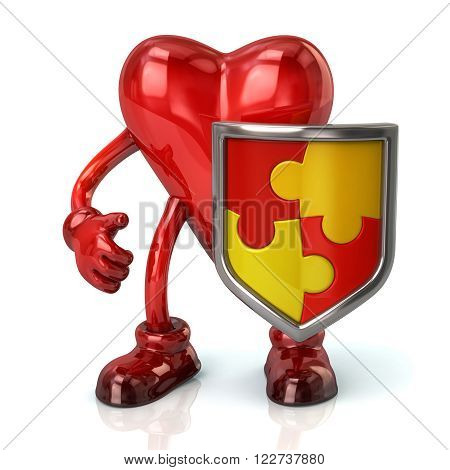 Illustration Of Heart Character And Puzzle Shield With Red And Yellow Pieces