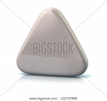 White triangle button isolated on white background