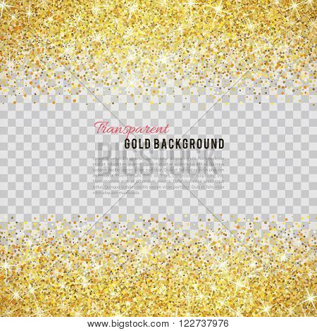 Gold glitter texture isolated on transparent background. Vector illustration for golden shimmer background. Sparkle sequin tinsel yellow bling. For sale gift card, brightly vibrant certificate voucher