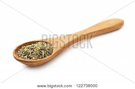 Wooden spoon full of dried rosmarinus seasoning isolated over the white background