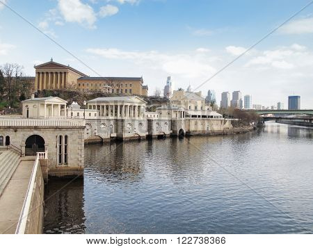 View of The Philadelphia Art Museum and Waterworks on Schuylkill River