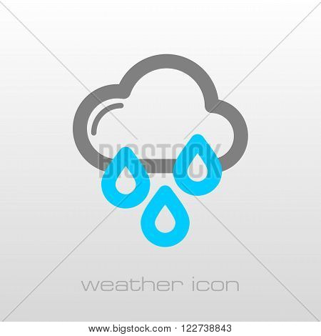 Rain Cloud Rainfall outline icon. Meteorology. Weather. Vector illustration eps 10