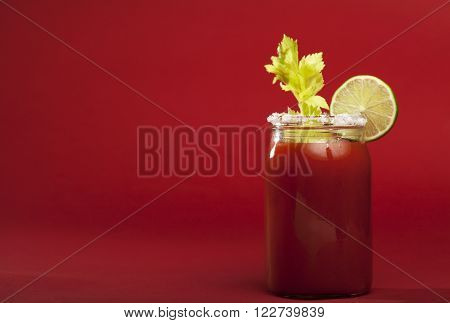Bloody Mary cocktail on a red background