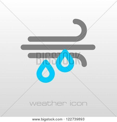Wind Rain outline icon. Meteorology. Weather. Vector illustration eps 10