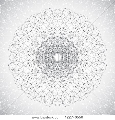 Geometric abstract lattice with connected line and dots. Round gray form of the molecule. Graphic composition for your design. Vector illustration.