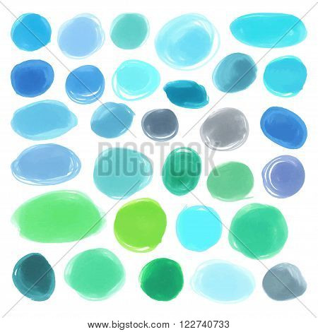 Watercolour marker blue circle vector textures. Pack for you to drag and drop onto your designs. Vector japan marker design elements blue color