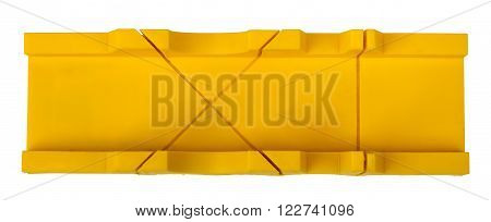 Plastic mitre box isolated on white background, closeup
