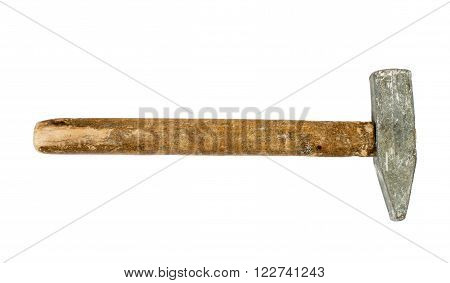 Hammer with wooden handle isolated on white background
