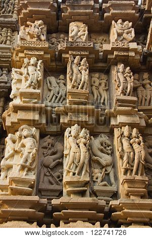 Details of sculptures on wall at Jain Temple in Khajuraho, Madhya Pradesh, India, Asia