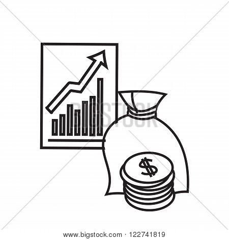 Black and white illustration of Finance. Financial concept. Finance and savings. Accumulation. Growth Statistic. Financial statistics. Finance Icon. Financial market. Vector illustration. Sketch style