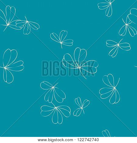 abstract vector seamless pattern with trefoils, shamrock leaves, leaves of clover, hand drawn vector background