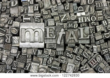 Close Up Of Typeset Letters With The Word Metal