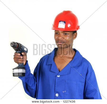 Blue Collar Worker With Drill 1