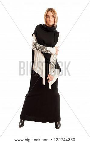 Young Female Model Wearing Long Casual Black Dress