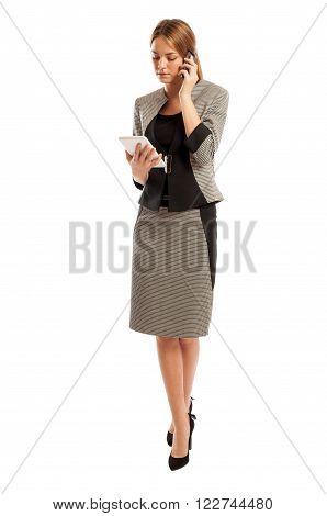 Woman Business Manager Multitasking