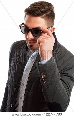 Business Man Wearing Casual Elegant Holding His Sunglasses
