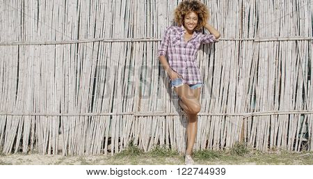 Young Woman Near A Wattled Fence