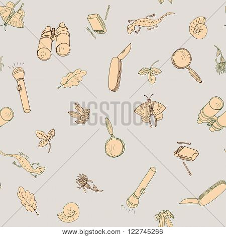 vector seamless pattern with object of researcher, scientist and traveler, hand drawn vector illustration