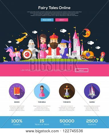 Fairy tales online web site one page website template layout with thin line design header, banner, icons and other flat design web elements